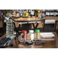 Tablecraft can make pizza night a memorable one with our pizza serving dishes set. Imagine how impressed friends and family will be when pizza is served on a cast iron pizza pan, displayed on our folding table stand, pizza cutter in hand, and all the shaking ingredients at your fingertips.