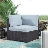 Entertaining outdoors is made effortless with this Lawson Corner Chair with Cushions. This chair is stylish and durable thanks to the UV resistant resin wicker, woven over a tough steel frame. The high-grade cushion core adds comfort, while the moisture resistant cover guarantees year-round protection. Pair with any number of our sectional options for a customized layout perfect for your outdoor space.