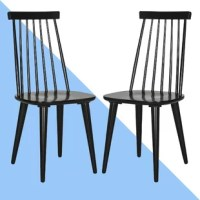 Bring a touch of mod style to your space with this dining chair. Crafted of solid rubberwood, this dining chair strikes an updated silhouette with a slatted spindle backrest and an abbreviated cap. A gently contoured seat lends added comfort and support, while four flared, round tapered legs complete the design.