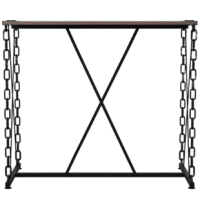 Make the most out of your small space with this bar table. This table has a very unique look that is casual yet traditionally-modern. It is supported by a metal frame and has a signature chain styled legs. The rustic oak finish wooden table top provides a great space to enjoy a drink or meal.