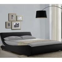 Wave-like silhouette of Karrl low profile bed is one of a kind addition to any contemporary bedroom. This upholstered platform bed is fully wrapped in soft PU leather for ultimate comfort and looks, and features a slatted base