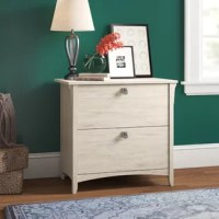 Clutter causing chaos in your office ensemble? Keep your important documents, memos, and more neatly tucked away while lending an eye-catching touch of traditional charm with a little help from this filing cabinet! Crafted from wood, it strikes a clean-lined silhouette and boasts a solid neutral finish for a versatile look that complements nearly any color palette. Two drawers with metal drop pull open to reveal space inside for legal- or letter-size documents.