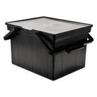 See-through, hinged lid. Includes easy-lift handles and built-in tracks for letter or legal size hanging file folders (sold separately). Use file alone or set inside Heavy-Duty File Shuttle II (AVT-FS-2BHD, sold separately) for easy mobility. 40-lb. capacity. Plastic.
