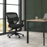 The HON Prominent Mesh High-Back Task Chair, Height-Adjustable Arms, in Black, is ergonomically sculpted for support. The unique wave-formed seat helps align the user's legs and hips for long-lasting comfort. The computer chair's back is constructed of breathable mesh for exceptional comfort while the seat is upholstered in abrasion-resistant polyester. The chair's Height-adjustable arms move up and down for shoulder and upper body support. Ergonomic controls like center-tilt, upright tilt...