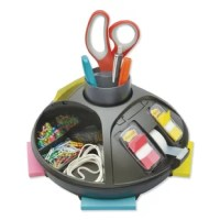 Convenience reaches a new level with this clutter reducing organizer. Includes 3 x 3 Post-it® notes, flags and Scotch® tape. Rotates 360° with both open and hidden compartments to store all your office essentials.