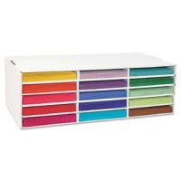 Sturdy corrugated box, ideal for storing and protecting sheets of construction paper neatly in the classroom. Organize by color to simplify gathering of materials.