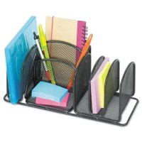 Maximize your desktop space with this incredibly efficient organizer. Save space and time spent looking for accessories. Keep supplies stored neatly off your desk but within arm's reach. Features compartments for message and sticky note pads, envelopes, pens, pencils and more. Steel mesh construction is durable and stylish