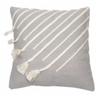 Soothe yourself on the sensational handwoven pillow. Rich white stripes drape over the soft gray of the cotton cover, and some of these stripes settle into gentle tassels. This charming display is certain to make both you and your home feel absolutely comfortable.