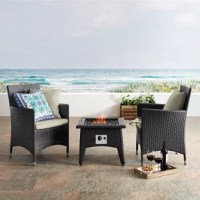 If you love throwing parties, now you can take your flair for entertaining outside with this 3-piece outdoor conversation set. A fire pit and two club chairs wrapped in dark brown, all-weather resin wicker mirror all the style and comfort of your living room. With extra-long aprons and curved seat backs, the deep seating armchairs strike a sleek, modern silhouette. They come complete with foam-filled cushions with machine-washable, fade- and water-resistant zip covers in your choice of solid...