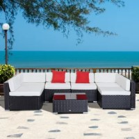 Whether you're looking to host the neighbors in style or just spread out to enjoy warmer weather, this conversation set is just the thing to help you make the most of your patio or deck. This set includes a U-shaped sectional and a square coffee table, and each piece is crafted with a steel inner frame and wrapped in resin wicker for a design that can stand up to weather, rust, and water. The modular sectional features space to seat up to seven people, and includes seat and back cushions with...