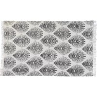 This beautiful area rug adds a pop of global design to your living space. This hand-woven area rug adds neutral charm to your space.  The gray color of this patterned area rug is sure to bring delight to any space. The lightweight, flat-weave design is made with a blend of polyester and cotton, essentially creating a