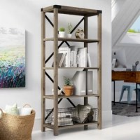 Provide shelving for your collectibles, books, and décor with this Etagere Bookcase with four spacious shelves. In a high-grade MDF, durable laminate, and metal design featuring metal accents on the corners and x-shaped backings. With a farmhouse style for a rustic, industrial appearance to your home. Add in your entryway, hallway, bedroom, kitchen, or home office to store your items and keep them organized.