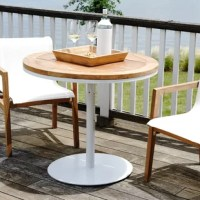 Let your worries float away with this outdoor 3 piece teak bar set. Soon to become an essential of your outdoor relaxation routine, this stylish modern table will be the place you unwind with family and friends. A white finished aluminum frame forms the base of this versatile bar table, while the round table top is made of solid teak wood with a stainless natural finish. What you will not notice at first glance (but love) is how functional this piece will be with its adjustable base. It can...