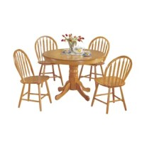 This traditional 5 piece dining set with pedestal table and 4 Windsor arrow back chairs with a beautiful oak finish will be a great addition to your dining room to join your loved ones together.