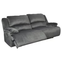 Large-scale comfort is yours with the 2-seat reclining power sofa. With supremely padded back, seat and arm cushions, it's the hero for ultimate relaxation. Microfiber upholstery is welcoming, soft and luxuriously covers the extra-wide seats. Recline back and kick up your feet to bolster your comfort level even more.