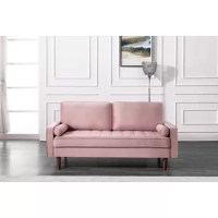 The classic design of this sofa gives it a distinctive look that elevates your well-curated collection. It is diamond buttons tufted details, add a refined touch to any space while its linear silhouette and square arms fuse together. It features the diamond button-tufted seat and finished wood legs. Two pillows are included. The perfect piece to reflect your regal tastes, this sofa anchor your seating ensemble in timeless appeal. Lean back and lounge in luxurious style on this stunning...