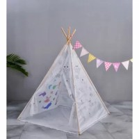 Graffiti teepee tent arrives as a blank canvas with different graphics schemes. The pattern of graffiti schemes includes the Indian tribe; ocean animal and dinosaurs family, a paintbrush with different colors included (though you may want to pick up extra at the craft store). LED lights are optional with additional purchases.