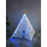 Graffiti teepee tent arrives as a blank canvas with different graphics schemes. The pattern of graffiti schemes includes Indian tribe; ocean animal and dinosaurs family a paintbrush with different colors included.LED lights are optional with additional purchases.