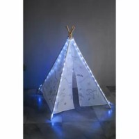 Graffiti teepee tent arrives as a blank canvas with different graphics schemes. The pattern of graffiti schemes includes Indian tribe; ocean animal and dinosaurs family a paintbrush with different colors included. LED lights are optional with additional purchases.