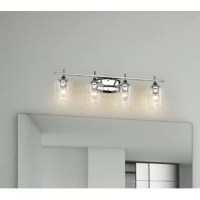 The perfect piece for updating your powder room or master bath, this 4-light vanity light showcases a mid-century modern look that blends in with a wide variety of aesthetics. It features a metal backplate and one straight arm for a traditional touch, which holds four clear glass bell-shaped shades. Inside each shade, a 60W medium-base bulb (not included) provides ambient light in your space. Plus, it can be mounted facing either upwards or down, depending on your preference.