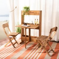 Quaint, casual and convenient for spaces large or small, this bistro set transforms leisure living spaces into outdoor getaways. Easy setup, easy fold-away storage, the set comes with matching wooden chairs and a handy table-shelf, made from teak and eucalyptus.