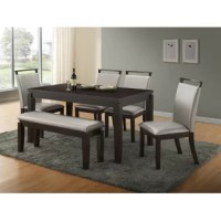 This table set has a contemporary design and will enhance any dining area. Show off your style and character with this beautiful dining set.