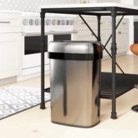 Experience hands-free cleaning with this open top trash can. With its open top design, this trash can is perfect for eliminating the possibility of cross-contamination of germs, and it also features dual carbon filter deodorizers on either side of the can to help eliminate odor. The brushed stainless steel design makes this can smudge-resistant, and resistant to dents and scratches. A carrying handle allows for quick and easy transportation of this bin.