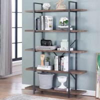 Try adding some edge to your home with this etagere bookcase. The X-shaped back and shelving enclosures open up your home to a sophisticated industrial style that looks sleek and distinguished. The sturdy interlocking frame encases the piece for strength and durability while the five open, spacious shelves provide plenty of storage books, magazines, photo frames and souvenirs that are scattered around in the room, this bookshelf fits ideally in the living room, bedroom, kitchen, study, office...