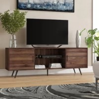 Take your living room to the next level with this stylish TV stand. Made with metal tapered legs, sleek metal handles, and a center glass shelf for a mid-century modern appearance. This high-grade MDF entertainment center creates additional storage space in your home for media, electronics, accessories, books, or décor. Use as a TV stand in your living room, a storage cabinet in your bedroom, or a buffet in your kitchen or dining room. Including two side cabinets for closed storage space and...