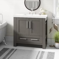 This vanity set is a beautiful finished in slate gray with white cultured marble top and basin. Deep adjustable drawers provide maximum storage. The doors and drawers offer