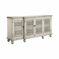 Four-door breakfront credenza with three adjustable and removable shelves and wire management on back panel. Hand-painted aged cream finish with black rub through. Antiqued mirrored glass and open elongated fretwork on.