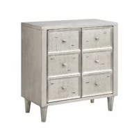 Two-door accent cabinet with one fixed shelf and wire management on back panel. Hand-painted antique crackle silver leaf finish with black rub through. Satin finish nickel knob hardware and tapered fluted legs.