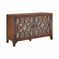 Two-door bar cabinet with three removable wine racks, one adjustable shelf, and wire management on back panel. Hand-painted chestnut finish. Glass front door panels with overlapping circular fretwork on door fronts.