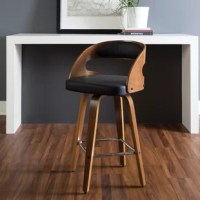 This collection blends mid-century modern and industrial modern styles with current design trends to create timeless pieces that will seamlessly compliment any decor. This mid-century modern bentwood frame swivel seat stool with vinyl back and seat cushion provides a retro touch for any of your counter height seating needs. This minimalist stool features a vinyl seat cushion for extra comfort. The curved bentwood seatback also features a black vinyl cushion for plush support. The mid-century...