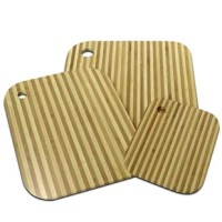 This 3 Piece Bamboo Cutting Board can be used as serving trays and small, back-up shields and has integrated holes for hanging.