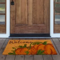 "Add a trendy and upscale fall touch with this door mat. Natural coir door mat features beautiful pumpkin patch print and ""welcome."" A perfect welcome door mat for use all fall and Halloween season. Thick and durable coir fibers are perfect for wiping feet and for high traffic areas. To best preserve your natural coir mat, avoid prolonged exposure to water and direct sunlight. Natural coir when wet, may discolor."