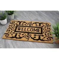 Impress your guests right at the doorstep with a stylish all-natural doormat. A coir doormat is an excellent choice as its functionality is unmatched- trap dirt and absorb moisture from underneath your shoes, then redry quickly! The texture of coir is coarse, making it strong and allowing for use in high traffic areas. As coir is a natural material, slight variation within color shades is normal and not an indication of a defect. This beautiful doormat will be a beautiful addition to your...