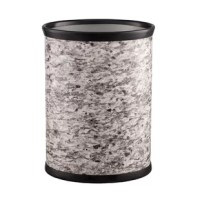 Old world style and charm define this waste basket. Coordinating solid color banded accents frame these exciting natural stone patterns.