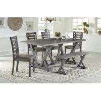 This collection includes a large rectangular dining table with a trestle style base in a Harbor Gray finish constructed of Rubberwood solids and Ash veneers.