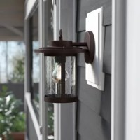 This 1-light outdoor wall sconce features a textured that will complement many transitional decors. The clear seedy glass cylinder allows the light to bounce in different ways and creates a warm welcoming glow to the outside of your home.