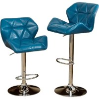 Ideal for pulling up to a pub table or making the kitchen island more eye-catching, this bold bar stool effortlessly pairs style and utility. Crafted from metal finished in polished chrome, its pedestal base is adjustable and features a curved foot rest. Up top, the seat certainly stuns with its curves and pointed arm rests, all wrapped in faux leather upholstery with diamond tufting and a glossy solid hue for versatility.
