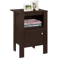 Whether placed next to your bed or paired with your favorite armchair, this nightstand lends contemporary appeal to any space. Made of solid rubberwood and manufactured wood, this dapper design strikes a rectangular silhouette with a wide, lipped tabletop and four straight slat legs. An enclosed lower cabinet with a silver square knob offers out-of-sight storage for everything from coasters and remotes to board games, while an open cubby shelf is perfect for displaying books and magazines.