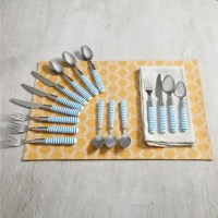 Add a fun touch of color to your home with the flatware set. The stripe design of this set is perfectly weighted and balanced for ease and comfort in your hand. With a sleek blue and white finish that lends a sophisticated touch of elegance, this set is sure to complement any dining setting, both casual or formal. Every piece is crafted from quality stainless steel and ABS plastic handles.