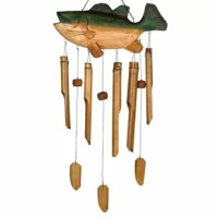 The strong bass fish swims and chimes in the wind. Bamboo gives their Asli Arts chimes a mellow, musical and enchanting sound, unlike any other chime. Their chime is made with pride by Balinese craftsmen. Each piece is individually hand-crafted. Non-endangered wood and bamboo are used to make these instruments of nature. In addition, this chime is hand-toned by musicians. Testing the sound of each tube, their musician/craftsmen create chime that sounds as good as it looks. By hand-toning each...