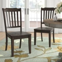 Bring French cottage style to your dinner table with this side chair. Crafted of solid Asian rubberwood and manufactured wood in a rich finish, this side chair has a slatted backrest and four tapered square legs. Rounding out the design, the gently-contoured seat offers added comfort and support. This side chair is 16.93
