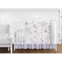 This Watercolor Floral 11 Piece Crib Bedding Set has all that your little bundle of joy will need. Let the little one in your home settle down to sleep in this incredible nursery set. This baby girl bedding set features a hand-painted watercolor floral print, a mini gray polka dot, and solid fabrics. It uses the stylish colors of lavender, purple, pink, gray and white. The design uses brushed microfiber fabrics that are machine washable for easy care. This wonderful set will fit all cribs and...