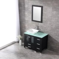 This vanity has large storage capacity and high-cost performance. The black finish is the top color choice for many bathroom renovations. This set ready to install and you can get it done easily following the installation instruction. It comes with vanity cabinet, ceramic sink, mirror, chrome faucet, pop-up drain, P-trap, and some installation hardware. It's the luxury design that will surely brighten your bathroom and add value to your property.