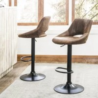 Gas-lift height adjustable 360 degree swivel barstools with Retro PU leather are the perfect addition to your kitchen, dining room, creates a vintage and mid-century atmosphere in your home bar.