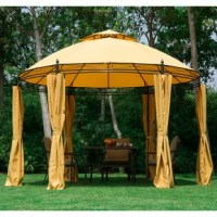 Enjoy beautiful sunny weather in the comfort of your own backyard this summer with 11.5 Ft. W x 11.5 Ft. D Metal Patio Gazebo. This gazebo features a powder coated steel frame covered with a coated polyester canvas to provide you with the optimal amount of shade and protection from harmful UV and climate conditions. The removable polyester curtains help keep the bugs out and the inside warm and insulated on cool summer nights. The curtains can also be easily removed to provide ventilation...