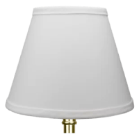 This lamp shade is equipped with a bulb-clip attachment, This is a common fitter type. The outside of the lampshade has a fabric covering. The trim is the same color as the covering. The outside of the lampshade has a fabric covering. The trim is the same color as the covering.